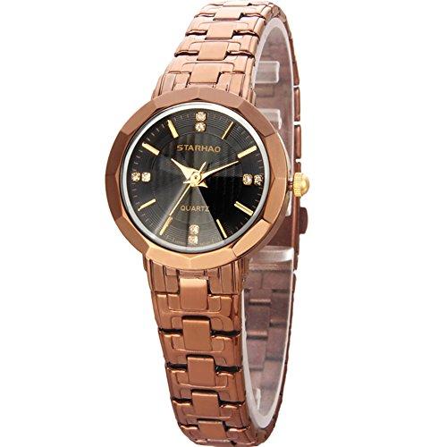 Stylish Woman Man Quartz Analog Wrist Watch Strip Dial Blue Band - 8
