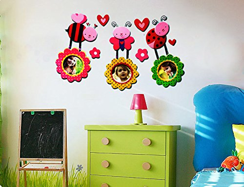 3D Removable Wall Decal Sticker with 3 Photo Frames for Nursery or Children's Bedroom Decoration Eva Picture Frame