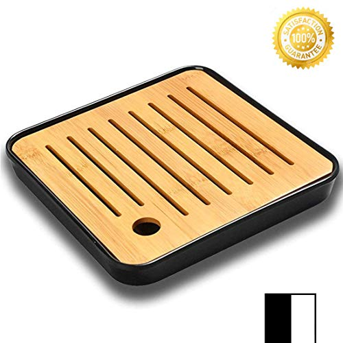 QMFIVE Bamboo Square Tea Serving Tray Tabletop 7.8''7.8''1'' for Kung fu Tea (BLACK)