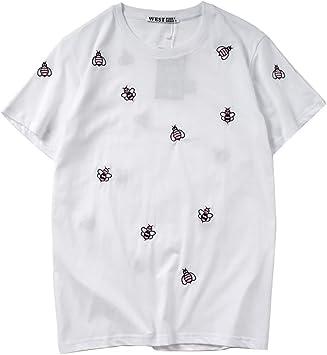 HA73 Camiseta Bordada Suelta de Abeja Sencillo y Elegante Pareja Use Camiseta Informal Unisex Cuello Redondo Manga Corta: Amazon.es: Deportes y aire libre