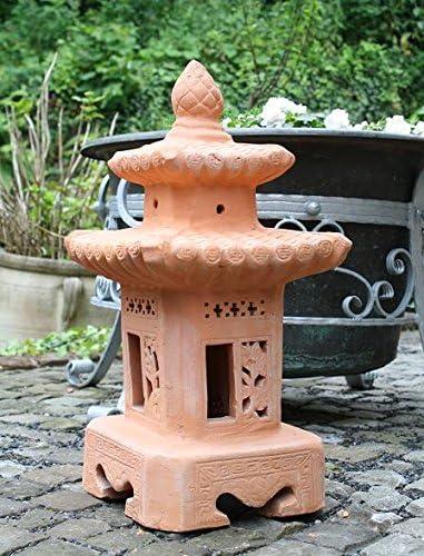Pagoda 60 cm Real Terracota Terracota Jardín Decoración Antorcha de jardín Pyramide portavelas Buda piedra Farol: Amazon.es: Jardín