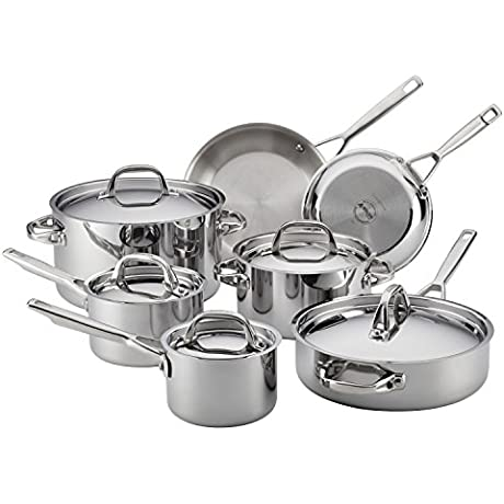 Anolon Tri Ply Clad Stainless Steel 12 Piece Cookware Set