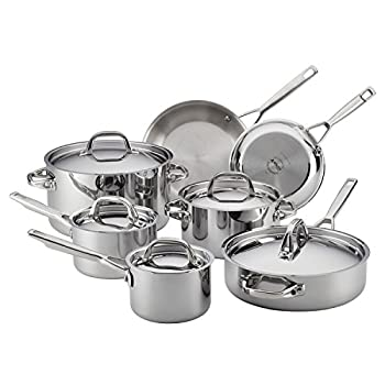 Image of Home and Kitchen Anolon 30822 Triply Clad Stainless Steel Cookware Pots and Pans Set, 12 Piece