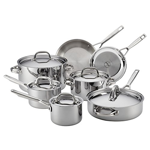 Cookware Oven Set Anolon Safe - Anolon Tri-Ply Clad Stainless Steel 12-Piece Cookware Set