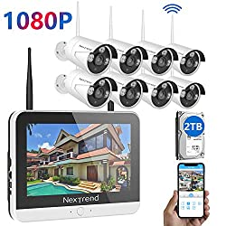 1080p Security Camera System Wireless Nextrend 8ch 1080p Security Camera System Built In 12 Monitor With 2tb Hdd 8pcs Wireless Security Camera 65ft Night Vision Easy Remote Access