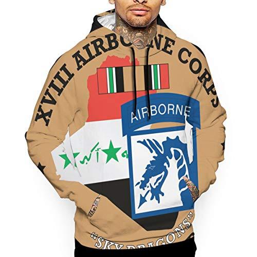 Iuznasdqoiu 18th Airborne Corps of Men's Hooded Hoodie Sweatshirt Pullover White ()
