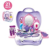 Deardeer 21Pcs Pretend Play Makeup Set with Mirror for Girls Beauty Salon Cosmetic Toy Set with Portable Box Best Gift