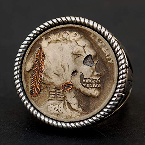 (US 1926 Indian Head Buffalo Hobo Nickel Copper Inlay Feather Tie Knot Skull Face Zombie Coin 925 Sterling Silver Ring - Buffalo Skull)