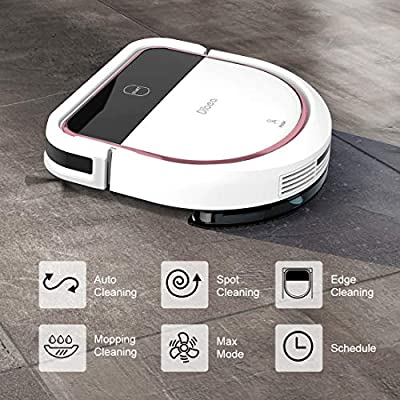 Dibea Robotic Vacuum Cleaner 2 in 1 Vacuuming and Mopping Robot D-Shape Design Strong Suction Quiet Self-Charging Robot for Hard Floors D500Pro