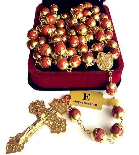 elegantmedical Red Agate Beads Catholic Rosary Necklace Cross Crucifix Religions Gift Box