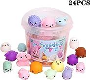 KINGYAO Squishies Squishy Toy 24pcs Party Favors for Kids Mochi Squishy Toy moji Kids Party Favors Mini Kawaii squishies Moc