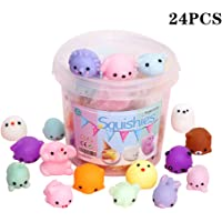 KINGYAO Squishies Squishy Toy 24pcs Party Favors for Kids Mochi Squishy Toy moji Kids Party Favors Mini Kawaii squishies Mochi Stress Reliever Anxiety Toys (24Pcs Mini)