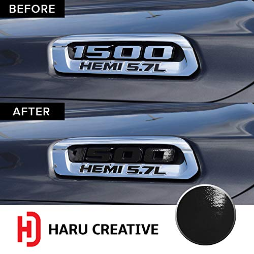 - Haru Creative - Front Hood Emblem Logo Letter Overlay Vinyl Decal Sticker Compatible with and Fits Ram 1500 5.7L Hemi 2019 - Gloss Black