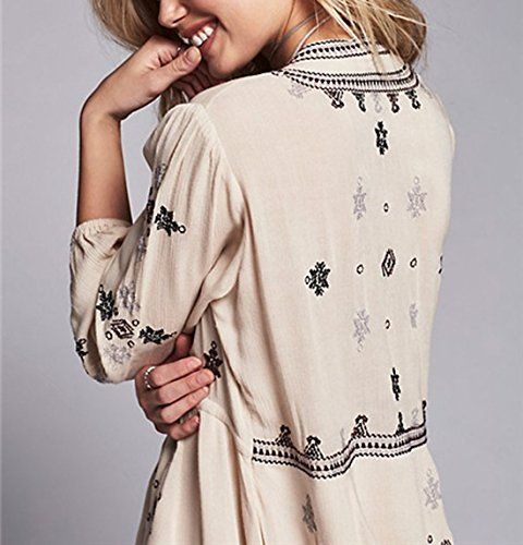 3 BIYOUTH Womens Beige Waist Neck Dress Ethnic Style Tie Embroidered Boho Sleeve 4 V Cx65xqTUw