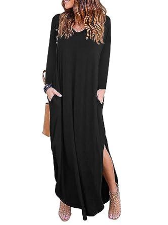 70116b684b Women's Casual Pocket Beach Long Dress Long Sleeve Split Loose Maxi Dress  Black Small