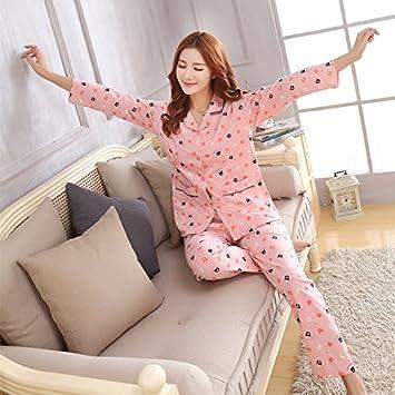 &zhou pijamas mujer ocio Rebeca mantenga invierno cálido pijamas gruesos conjuntos de ropa hogar , shrimp