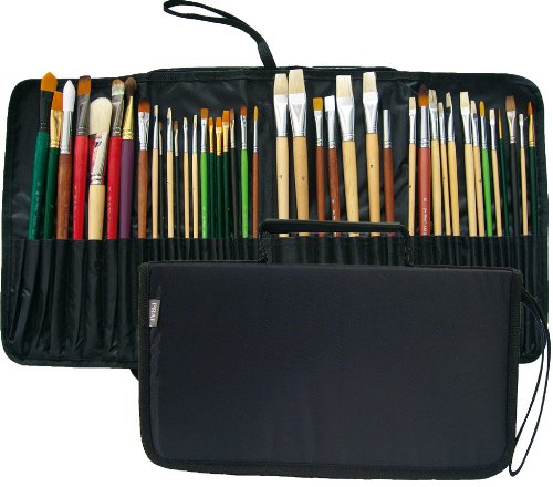 Prat Start Expandable Brush Case with Water-Resistant Nylon Cover, Holds 44 Long Handle Brushes for Easy Transport, 11.5 X 6.5 X 1.5 inches, Black (BC2-S) by PRAT Start