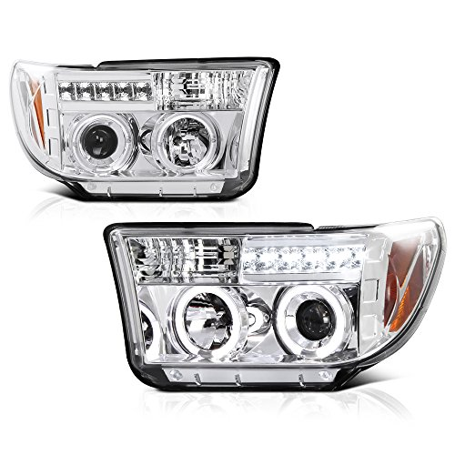 - [For 2007-2013 Toyota Tundra & 2008-2017 Sequoia] LED Halo Ring Chrome Projector Headlight Headlamp Assembly, Driver & Passenger Side