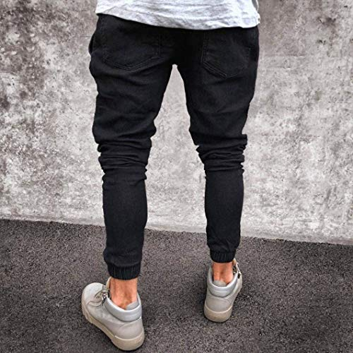 Fray Retro Denim Jeans Fashion Giovane Slim Distressed Uomo Pants Con Nero Ne Skinny Pantaloni Cerniera Da Casual r06rPn