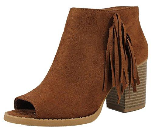 Peep Toe Fringe Western Chunky Stacked Heel Bootie (8.5 B(M) US, Chestnut) ()