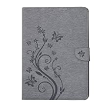 SZYT Tablet Case for Samsung Galaxy Tab S2, 9.7 inch, Imprint Flower Butterflies Gray
