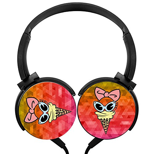 Scoop Of Daisy Wired Stereo Headphones Customized Foldable Headsets Over Ear For Kids Or Adultsblack