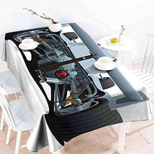 HCCJLCKS Washable Table Cloth Cars Back View of a Formula 1 Race Car Rally Competition Sports Cartoon Style Easy to Clean W60 xL102 Bluegrey Black White