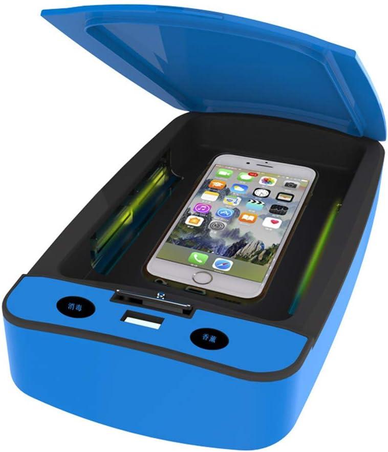 Caja de desinfectante UV para teléfonos móviles, caja de luces UV multifunción con mensaje de voz para mascarilla, cepillo de dientes, herramientas de maquillaje y cualquier artículo pequeño,Azul