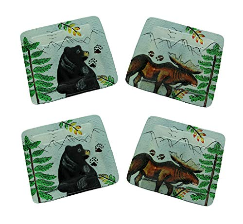 Set of 4 Lodge Black Bear and Moose Square Art Glass Salad ()