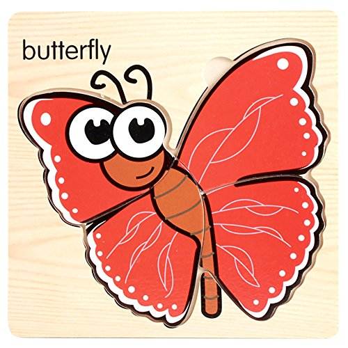 Kids Puzzles Toys, Wooden Animals Fancy Education Learning Intelligence Toys (Butterfly-2)]()