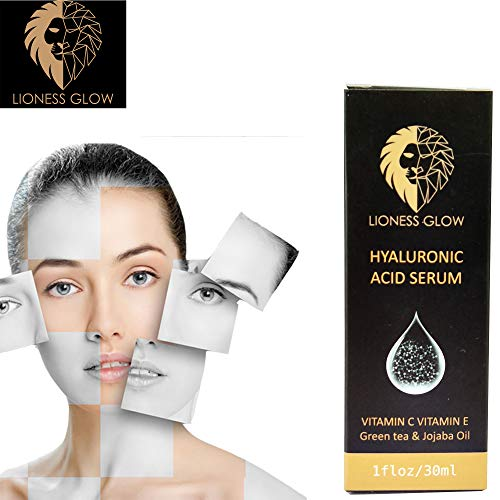 Lioness Glow Hyaluronic Acid Serum, Organic HA, Vitamin C and E, Jojoba Oil, Hydrating, Anti-aging serum for visibly plumped and firmer skin - (1 oz) z)