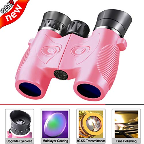 Beiko Kids Binoculars,Compact Folding High Resolution Binoculars for Toddlers with Strap Perfect for Travel Theatre and Bird Watching Even Night Vision Stargazing Boys Girls Birthday Gift (Pink)