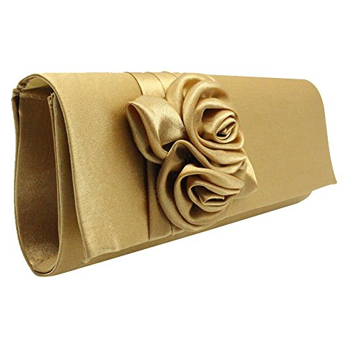 Floral Womens Ladies Pleated Wedding blue Cckuu Bag Handbag Satin Prom Navy Gold Bridal Clutch wqZEdEU