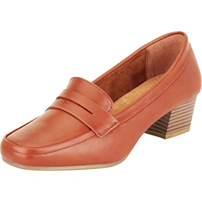 Cambridge Select Women's Square Toe Slip-On Chunky Block Low Heel Penny Loafer   Loafers & Slip-Ons