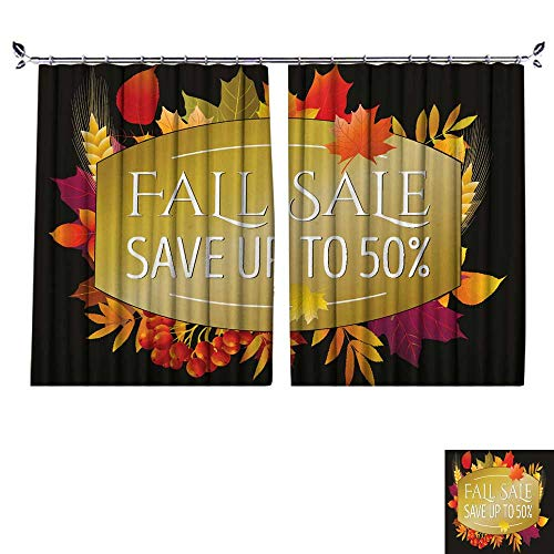 (DragonBuildingMaterials Drapes for Living Room Autumn Sale Poster Flyer Card Template with Typography Bright Fall Maple Leaves Spica rowanberry Vector Illustration W55 x L45)