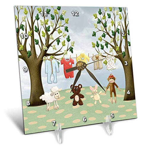 3dRose Clothline of Baby Clothes on Two Trees with Lamb, Bear, Bunny, Monkey - Desk Clock, 6 by 6-Inch (dc_192557_1)