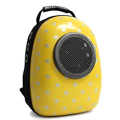 Geekercity Pet Carrier Backpack Bag for Small Little Medium Dogs Cats, Portable Plastic Innovative Space Capsule Astronaut Travel Bubble Box Purse for Women Men Outdoor Indoor Use (Yellow)