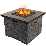 "DIAN 32"" Outdoor Patio Gas Fire Pit Cultured Stone Ceramic Top Steel Frame Propane Fire Table Place Lava Rocks 50,000 BTU Auto Ignition Safety Push Button HE9999 For Sale"