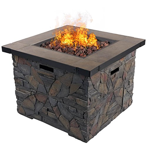 "DIAN 32"" Outdoor Patio Gas Fire Pit Cultured Stone Ceramic Top Steel Frame Propane Fire Table Place Lava Rocks 50,000 BTU Auto Ignition Safety Push Button HE9999"