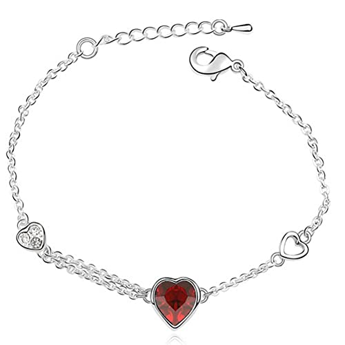Image Unavailable. Image not available for. Color  Latigerf Heart Bracelet  White Gold Plated Swarovski Elements Crystal Red f50becdf9