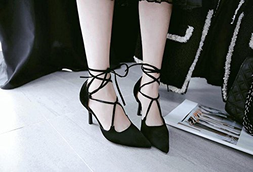 Heels Straps GLTER Women'S Ankle High Pumps Sandals Court Black Shoes Toe Closed qxXa0wXfF