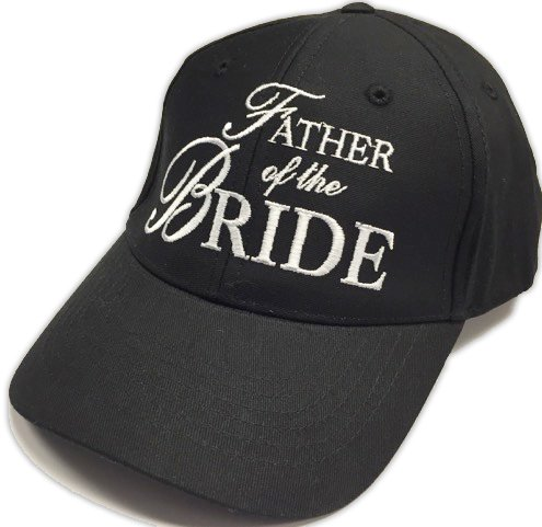 Father of the Bride Wedding Baseball Cap Black Hat with White Embroidery ()