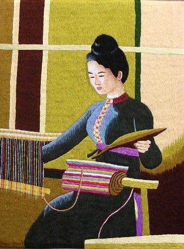 Embroidery Paintings with Frames - 22'' x 17'' Thai Girl - GP06