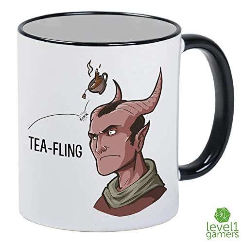 Tea-Fling DnD Tiefling Pun Role-Playing White Mug With Black Handle And  Interior