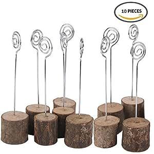 K. Max rústico real base de madera decoración para fiesta de boda soporte para número de mesa nombre tarjeta titulares de fotos Memo Nota Holder Clip (10unidades)