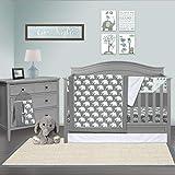 Pam Grace Creations 6 Piece Standard Crib Bedding Set, Grey/Indie Elephant