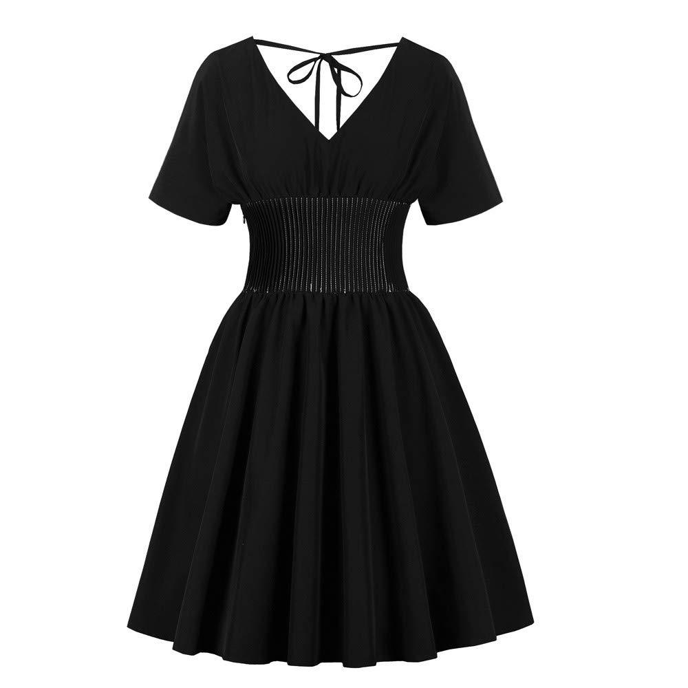 Women Short Sleeve Gothic V-Neck Tunic Rockabilly Evening Prom Swing Punk Dress Black by Doad Women's Dresses