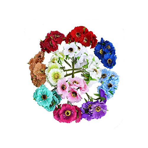 Blue-shore Artificial Flower Head 3.5cm Mix Colors 72PCS/Bag Used for DIY Decoration