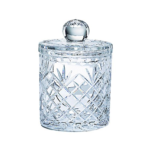 Lead Crystal Biscuit Barrel with Medallion Pattern 7.5