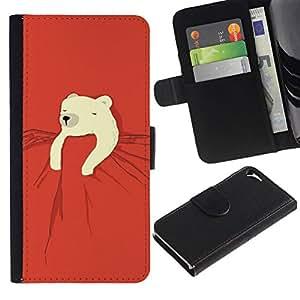 All Phone Most Case / Oferta Especial Cáscara Funda de cuero Monedero Cubierta de proteccion Caso / Wallet Case for Apple Iphone 5 / 5S // polares niños oso dulce noche roja linda